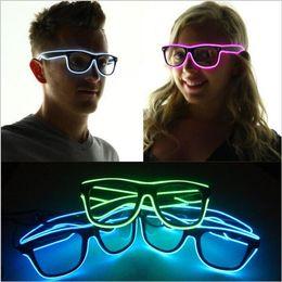 Wholesale Light Up Costume Men - Simple el glasses El Wire Fashion Neon LED Light Up Shutter Shaped Glow Sun Glasses Rave Costume Party DJ SunGlasses 240 pcs YYA567