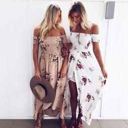 Wholesale Beach Casual Strapless Dress - Boho style long dress women Off shoulder beach summer dresses Floral print Vintage chiffon white maxi dress vestidos de festa