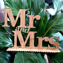 Wholesale Wholesale Cake Topper Letters - wood wedding decorations Mr and Mrs wedding decorations centerpieces wedding party props letters ornaments party supplies