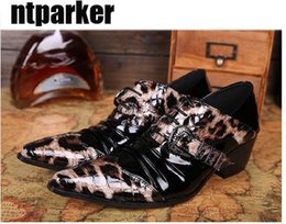 Wholesale Leopard Kitten Heels - Sexy personality fashion shoes for Man vintage leather shoes man high-heeled leather leopard print man's shoes leather