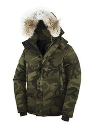 Wholesale Jacket Goose Feather - Camouflage Men's Olive Green Camo Parkas Canadian Winter Coats, 2018 Down jacket Men Thick Warm Hooded Tops Coats With Raccon Furs