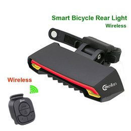 Wholesale Recharge Usb - Smart Bicycle Light Wireless Bike Rear laser Accessories light USB Recharge Cycling tail waterproof Remote Turn led meilan X5