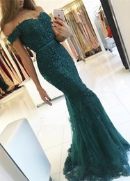 Wholesale Emerald Green Formal Gowns - Emerald Green Long Lace Mermaid Evening Dresses Party Beautiful Women Formal Evening Gowns Dresses Wear robe de soiree longue
