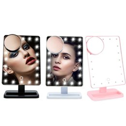Wholesale Stand Up Mirrors - 20 LED makeup mirror LED make up mirror stand up for desk with 10x magnify small round mirror white box retail packing