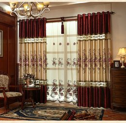Wholesale Hotels Building - European luxury velvet stitching embroidered blackout curtains for living room window curtain kitchen bedroom window curtains