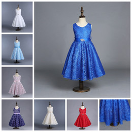Wholesale Dress Ball Grown - girls dress baby girls wedding dresses four-layer lace tutu skirts with jewel for kids backless party dress child prom grown pleated skirt