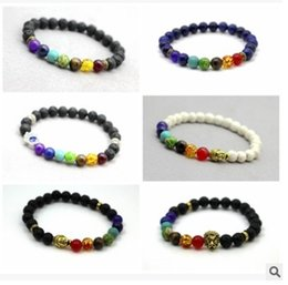 Wholesale Disco Ball Beads Stainless Steel - Black Lava Rock Stone Bracelet Colorful Beads Turquoise Round Disco Ball Zirconia Bracelets Free Shipping Hot Sale