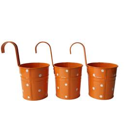 Wholesale Metal Wall Flower Planters - Orange Color dot design Metal Plant Flower Pot Wall Hook Planter Hanging Buckets wall hanging planter flowerpots balcony flower tub