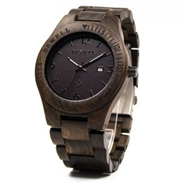 Wholesale Natural Movement - Natural Wood Watch for Gentlemen Japan Quartz Movement Mens Wooden Wrist Watches with Black Sandalwood Mixed Style