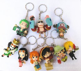 Wholesale Anime Figure Dragon Ball - 9pcs set One Piece Zoro Frank Luffy Brook Chopper Robin Nami Sanji Anime Keychain Collectible Action Figure PVC Collection toys