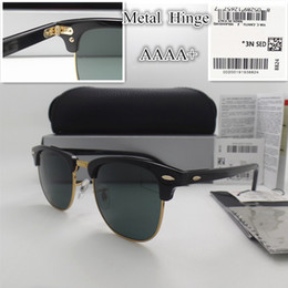 Wholesale Vintage Box Frame - AAAA+ quality Glass lens 51MM Brand Designer Fashion Men Women Plank frame Coating Sunglasses Sport Vintage Sun glasses With box