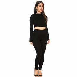 Wholesale Hot Sexy Women S - Womens Hot Sexy Bodycon Two Piece Sets Autumn Fashion Slim Long Sleeve Crop Tops and Pants 2 piece Set Clothing For Woman Two piece Suits