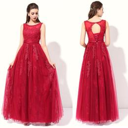 Wholesale Plus Size Wine - SSYFashion 2017 Wine Red Lace Flower Long Evening Dress Birde Banquet Floor-length Sleeveless Elegant Prom Formal Dress Robe De Soiree