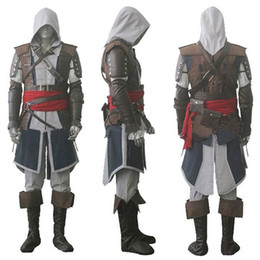 Wholesale Japanese Costume Male - Assassin's Creed IV 4 Black Flag Edward Kenway Cosplay Costume Whole Set Custom Made Express Shipping