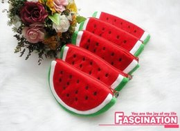 sacchetti di frutta all'ingrosso Sconti Wholesale- 2Shapes Kawaii Fruit Watermelon - 11CM Coin Purse Wallet Custodia per sacchetti; Borsa da donna Borsa da donna