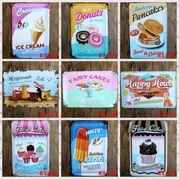Wholesale Ice Creams Wall Stickers - Ice Pop Fairy Cake Donuts Ice Cream Pancakes Vintage Craft Tin Sign Retro Metal Poster Bar Pub Signs Wall Art Sticker(Mixed designs)