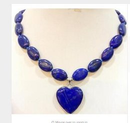 Wholesale Lapis Heart Pendant - Fashion real Natural Bead GEMS STONE Beautiful! Charming! HUAMAO New natural lapis lazuli heart pendant necklace