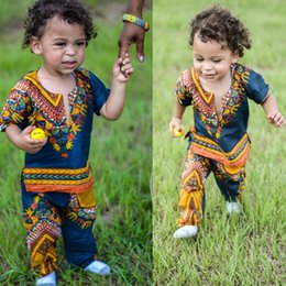 Wholesale Cute Outfits For Boys - New Hot Selling National Style Boys Clothing Sets Short Sleeve Outfit Floral Tops T-shirts + Pants 2pcs Set For Baby Toddler Boy Suits A7120