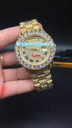 Wholesale Full Dates - Full diamonds case gold luxury watches for men big stones bezel day sweep automatic date watch high quality free shipping brand wristwatch