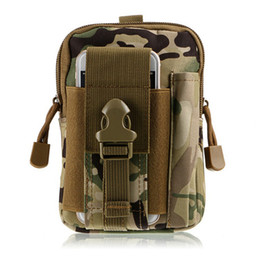 Wholesale One Shoulder Bag For Men - Tactical Waist Belt Pouch Molle Holster Army Camo Bag Outdoor camouflage nylon case for iphone 7 men zipper wallet bag NEW