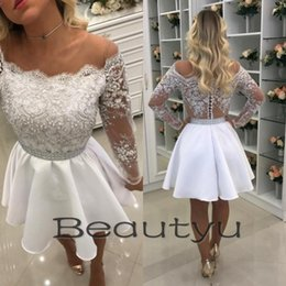Wholesale Pink Cocktail Dresses For Juniors - Sexy Lace Short Homecoming Dresses For Juniors 2018 White A Line Sheer Illusion Back Pearls Cheap Long Sleeve Prom Cocktail Party Dress Gown