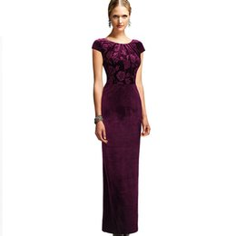 Wholesale Dress Frills - Vfemage Womens Elegant Floral Frill Velvet Formal Evening Party Mother of Bride Special Occasion Bodycon Long Maxi Dress 3963