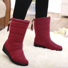 Wholesale Hot Wedges - Hot Sales Women Rain Snow Boots waterproof Winter Shoes Faux Fur Lined rubber band tassel