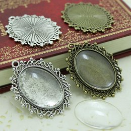 Wholesale Pendant Cameo - Sweet Bell two colors filigree cameo cabochon 18*25mm base setting pendant tray + clear glass cabochons D0111