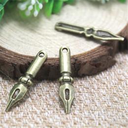 Wholesale antique pens - 25pcs--Antique Tibetan bronze pen nib Charms Pendant, pen nib Charms 32x7mm