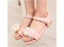 Wholesale Leather Girl Dance Wear - Girls pearls summer Sandals children baby kids princess shoes wholesale wedding party dance wear 11AS503-10 [Eleven Story]