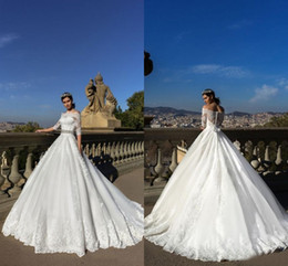 Wholesale Short Peplum Bridal Dresses - Attractive Wedding Dresses off Shoulder Half Sleeves With Lace Applique Wedding Gowns Back Zipper With Bow Peplum Custom Made Bridal Gowns