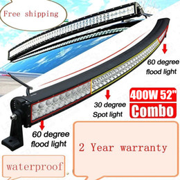 "Wholesale Lights For Camper - 52"" 400W Curved LED Work Light Bar for Offroad Fog Driving Fog Lamp Car Jeep Truck Ford 4WD Wagon Camper 4x4 SUV UTV Spot Flood Combo Beam"