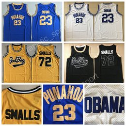 Wholesale Bad Boys - Punahou College 23 Barack Obama Jersey Men High School Bad Boy Notorious Big 72 Biggie Smalls Basketball Jerseys Movie Black White Purple