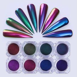 Wholesale Color Pigment Black - Chameleon Mirror Nail Glitters Powder 0.5g Chrome Pigment Manicure Nail Art Decoration Black Base Color Needed