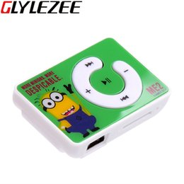 Wholesale Mini Clip Mp3 1gb - Glylezee Minions Clip MP3 Music Player with TF Card Slot with 5 Colors Mini Sports Running Cartoon Style Music Player