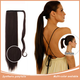 """Wholesale Straight Drawstring Ponytail - Wholesale- Clip In Synthetic Ponytail Hair Extensions Drawstring Wrap Around Ponytail Hairpieces For Women Black 24"""" 60cm 120g P001"""