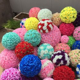 Wholesale Wedding Kissing Balls Wholesale - 15,20,25,30,35,40,45,50cm Wedding Rose balls Silk Flower Kissing Balls Hanging rose Balls Wedding Party Decorations free shipping YF35