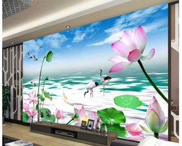 Wholesale Customized Wedding Paintings - High Quality Customize size Modern popular Chinese wind background wall decoration painting murals lotus background wall