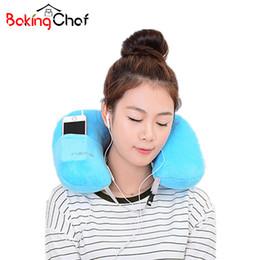 Wholesale Inflatables Products - Wholesale- U-Shape Inflatable pillow Portable Flannel travel neck pillow Home Garden Textile Item Stuff Accessories Supplies Product