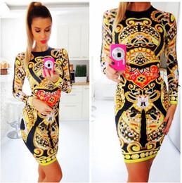 Wholesale Slimming Elegant Clothes - New printed elegant dresses for women slim casual summer sexy robe midi dresses longsleeve short dress women's clothes clothing