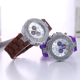 Wholesale Silicone Strap Shiny - Fashion Classic Double Diamond watch Three eyes Dial decoration silicone strap Shiny Women Fashion Geneva Sport Quartz watch