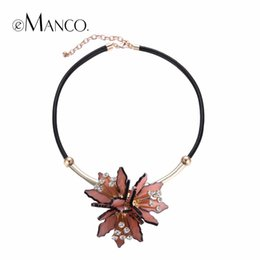 Wholesale Pink Flower Choker - Emanco Trendy Pink Flower Statement Choker Necklaces &Pendants Women Pu Leather Chain Rhinestone Top Brand Jewelry
