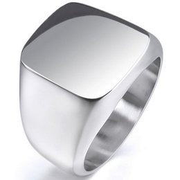 Wholesale Stainless Steel Mens Vintage Rings - Vintage Mens Boys Sterling Silver Color Stainless Steel 316L Polished Biker Signet Solid ring Men's Jewelry R13