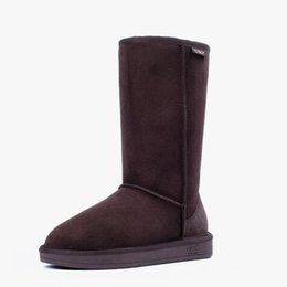 Wholesale Sheepskin Knee Warmers - Christmas Gift Winter Classic Snow Boot Women Warm Tall Boots WGG Style Ladies Leather Shoes Grey Black Sale High Quality