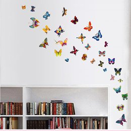 Wholesale Small Colorful Butterflies - 30*45cm 60pcs pack Colorful Butterfly Wall Stickers DIY Art Decal Removeable Water-proof Wallpaper for Room Refrigerator Notebook Cellphone