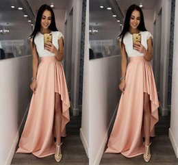 Wholesale Cute Maternity Pictures - Fashion White and Pink Cocktail Dresses Cap Sleeve Lace Cute High-Low Prom Cheap Special Occasion Dresses for Women