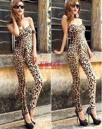 Wholesale Trendy Pants Jumpsuits - Free shipping 2016 Trendy Womens Strapless Jumpsuit Pants Leopard Playsuit Bodysuit Rompers Drop shipping WL4