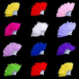 Wholesale Party Box Halloween Costumes - Fluffy Feather Hand Fan Dance Fancy Elegant Props Dress Wedding Costume Dance Folding Fan Halloween Phantom Party Supplies Festive Supplies