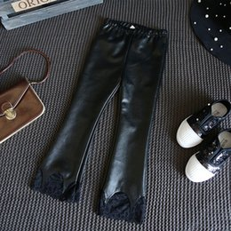 Wholesale Wholesale Faux Leather Trousers - Korean Fashion Girls Leather Trousers Black Lace Children Leggings Tights kid long pants Children Clothes Kids Clothing Girls Clothes A1069