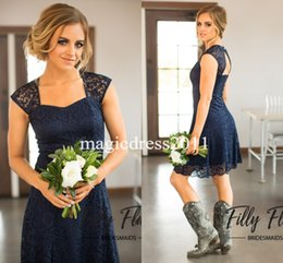Wholesale Knee Length Sequin Bridesmaid Dresses - 2017 Navy Blue Country Lace Bridesmaid Dresses A-Line Sweetheart Backless Cheap Knee-Length Beach Wedding Gust Dress Maid of Honor Gowns